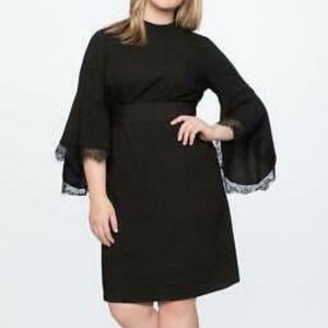 Eloquii black lace flutter sleeve detail dress new